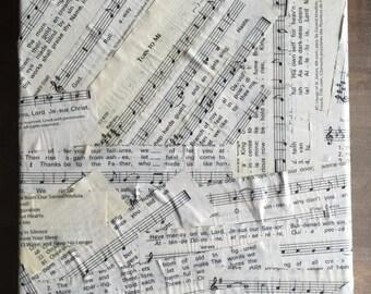 "Sheet Music Decoupage Artwork.  Sheet Music on canvas 8"" x 10"""