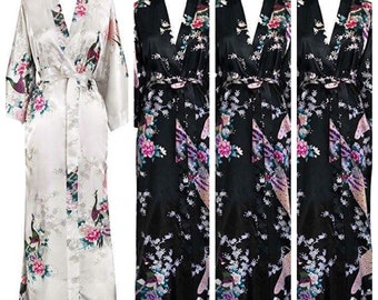 Long Floral Bridesmaid Robes - Bridal Robes - Kimono Robes - Full Length Robes - Bride Robes - Bridal Party Robes - Plus Size Robe - Mix
