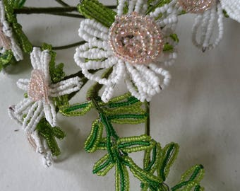 Vintage Beaded Flower Bunch in Pink and White