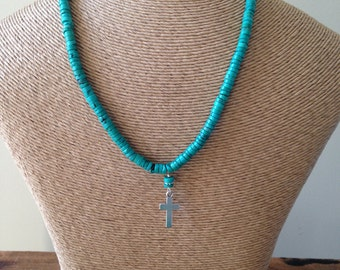 REDUCED Magnesite, Statement Necklace, Blue Beaded Necklace, Cross Necklace, Christian Necklace, Etsy, Etsy Jewelry, Beaded Necklace,