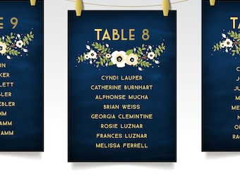 The ALYSSA . Seating Chart Cards . Wedding Table Number or Name . Anemone Magnolia Garland Gold & Navy Chalkboard Set of Printed 5 x 7 Cards