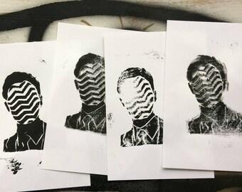 Twin Peak - Agent Cooper - Lino Cut Print Misprint