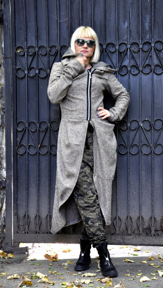 Asymmetric Casual J0241 Two Vest Plus Woman Long Hooded Warm Jacket Cardigan Wool Pocket Jacket zipped Jacket 100 Long Jacket size qaPIPHRFnw