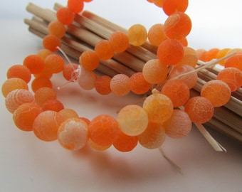 Agate orange frosted agate bead, 6mm, 8mm, 10 mm, hole 0.8 mm