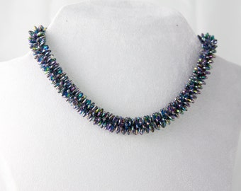 Beaded necklace in Kumihimo technique
