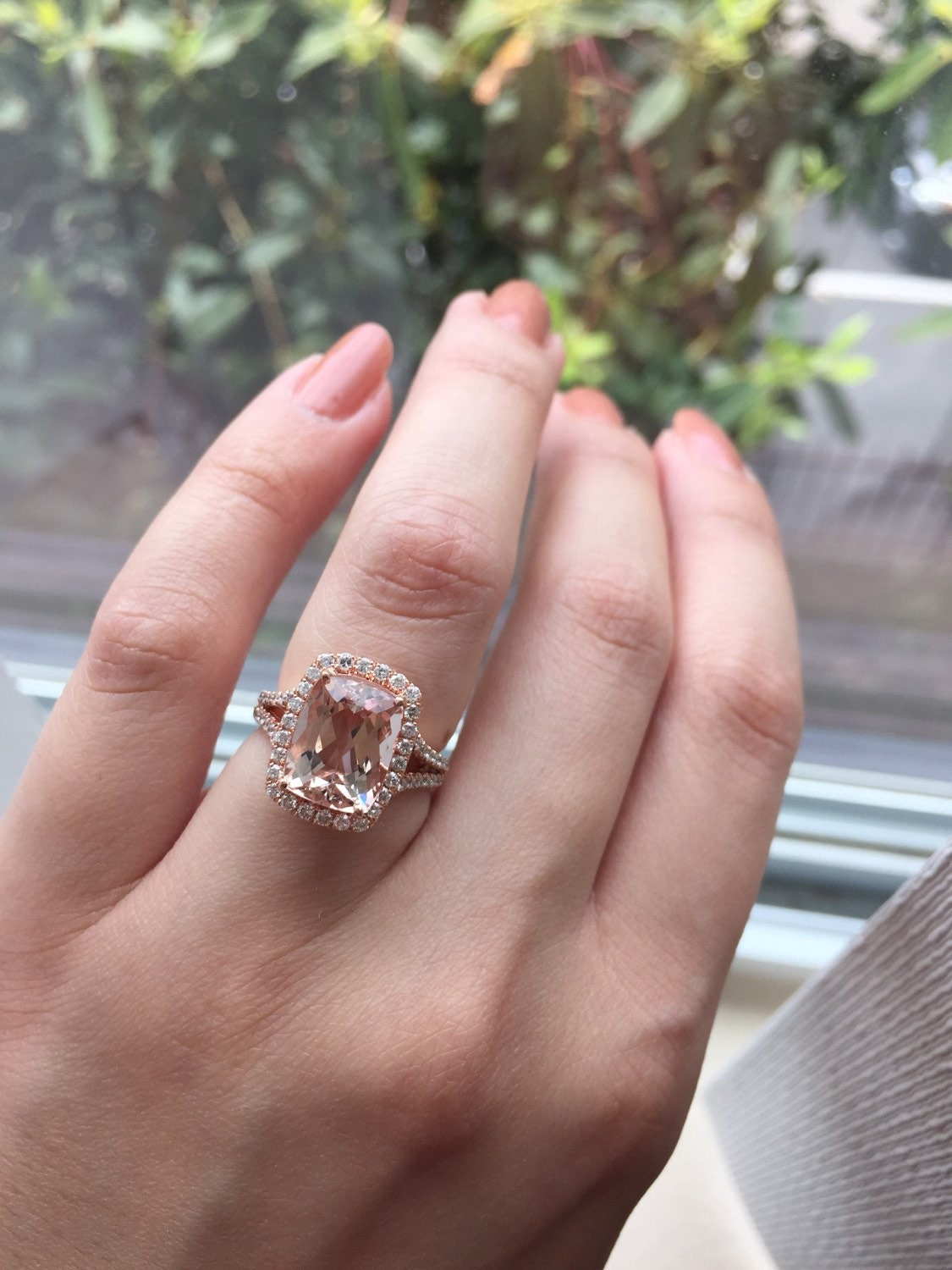 14K White Gold Rose Gold Cushion Cut Morganite and Diamond