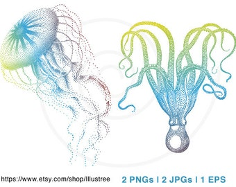 Jellyfish and octopus, digital clipart, illustration, drawing, sealife, nautical, beach house, print, blue, green, vector, instant download