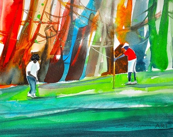 Golf Outing Watercolor Print, African American Art, Contemporary Art, Home Dece Art, Golf Art, Black Golf, Golf Decor, Gift for Him, Art
