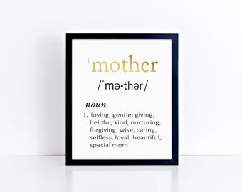 "Hand-Foiled ""MOTHER"" Definition Typography Art Print - Foil Prints, Decor & Gift Prints,  8x10"