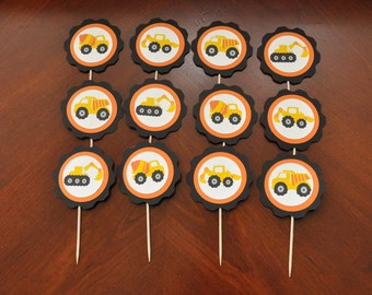 Construction Cupcake Toppers Set of 12, Construction Birthday Party