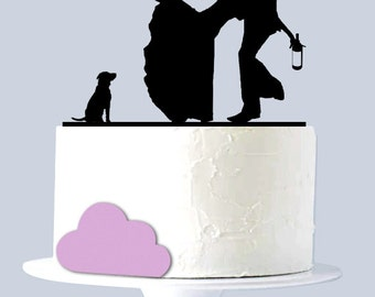 Funny wedding cake topper, Drunk Couple Acrylic Silhouette with Dog A1002