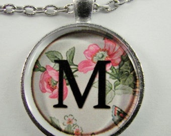 "Initial ""M"" Necklace -- Spring pattern Personalized Letter M Necklace, Wedding Necklace, Bridesmaid Necklace, Hen Night Necklace, Friendship"