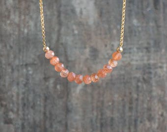 Sunstone Necklace, Beaded Necklace, Gift for Mom, Gemstone Necklace, Sunstone Jewelry, Good Luck Charm, Crystal Necklace, Sacral Chakra