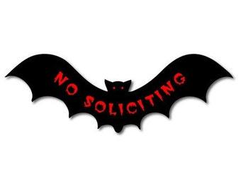 No Soliciting Vampire Bat Vinyl Sticker