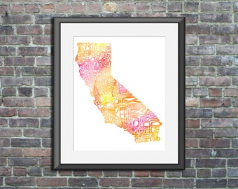 California watercolor typography map art unframed print state poster wedding engagement graduation gift anniversary wall art decor