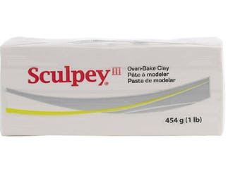 SCULPEY III White 1 lb Block Polymer Clay Oven Bake