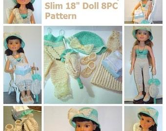 "0063 Victorian Birthday Doll Pattern,Crochet Pattern for 18"" Slim Doll BFC Ink, Crochet 8PC Doll Aqua Set by CarussDesignZ"