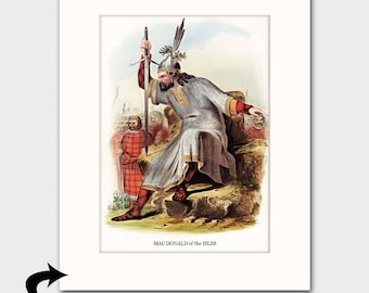 Clan MacDonald of the Isles, Family Art Print w/mat (Clan Chief Art, Scottish Gift, Battle Armor) --- Matted Scotland Art