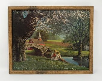 Vintage Framed Lithograph Spring Blossoms Print Vintage Picture Detlefsen Art Treasures, Inc
