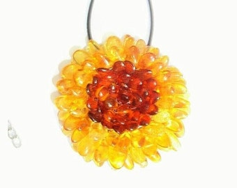 Gemstone Flower necklace Baltic amber flower pendant and brooch Stone necklace Sunflower Floral necklace amber brooch gift for girl woman