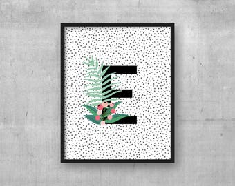 Monogram initial - Nursery art decor - Kids room wall art print - Instant digital download - Baby nursery poster - Initial - Letter E print