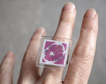 Pink statement ring, Fused glass jewelry eco friendly handcrafted jewelry