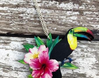 Toucan Necklace, Tropical Necklace, Toucan Pendant, Toucan Charm, Rainforest, Parrot Necklace, Bird Necklace, Tropical Bird