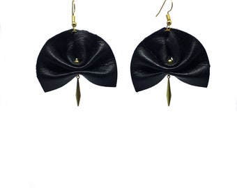 Pleated black leather, gold charm earrings
