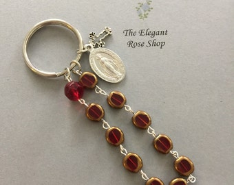 One Decade Rosary Keychain in Red and Gold