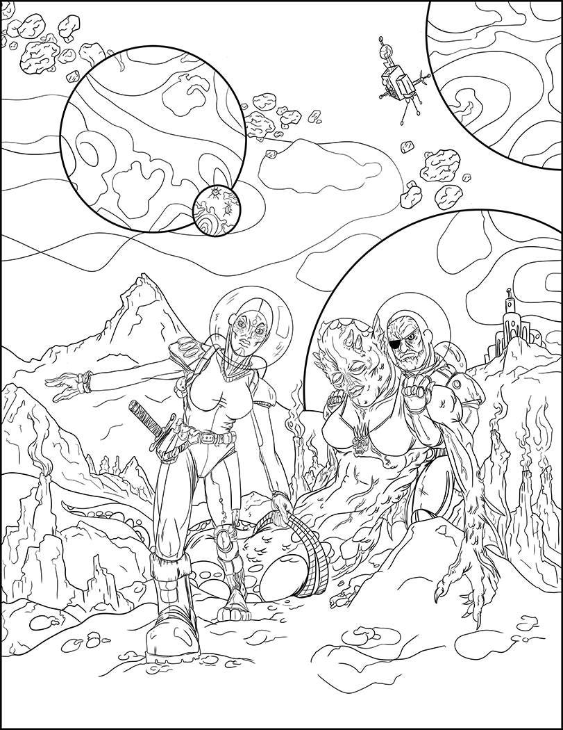 Pin Up Coloring Space Coloring Page Creepy Coloring Relax