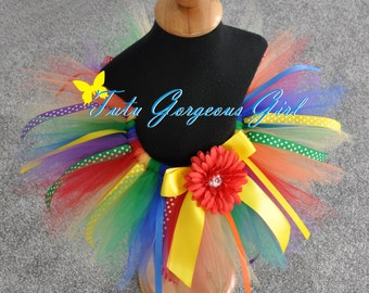 Rainbow Ribbon Birthday Tutu...First Birthday Rainbow Tutu, Photo Prop, Dance Recital Tutu...Baby, Toddler, Girls Sizes . . . RAINBOW PIXIE