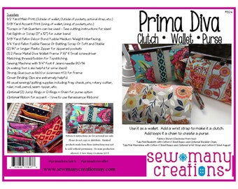 Instant Download - PDF Sewing Pattern - Prima Diva Clutch Wallet