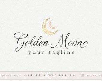Gold moon logo design, Photography logo, Kids logo, Children fashion logo, Watermark, Moon logo 531