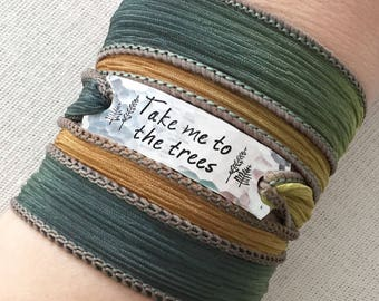 Take Me To The Trees, Nature Lover Gift, Nature Girl, Nature Jewelry, Boho Wrap Bracelet, Tree Lover Gift