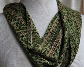 Hand Woven Multi Green and Black Bamboo Infinity Scarf
