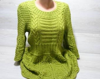 Hand Knitted sweater dress for girl women.