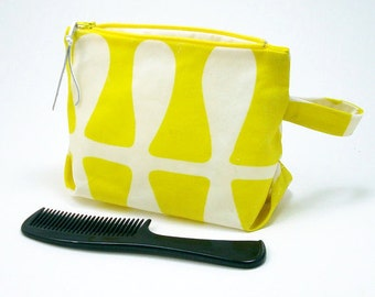 Waxed Canvas Cosmetic/Toiletry Zipper Pouch (Yellow and White)