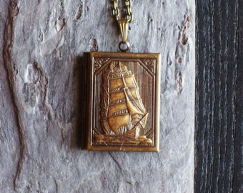 Sailboat book locket, nautical necklace, nautical locket, long necklace, antique brass locket, holiday gift ideas, unique Christmas gift