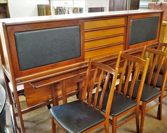 Teak Mid-Century Sideboard with Fold Out Table and 4 Teak & Leatherette Chair