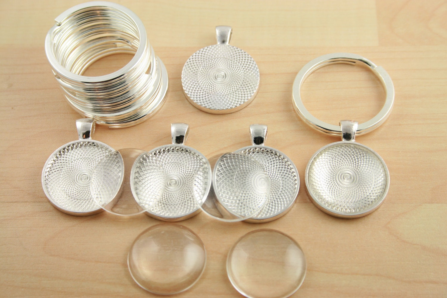 30 key ring making sets blank 1 inch round pendant trays glass 30 key ring making sets blank 1 inch round pendant trays glass domes large split rings 1 inch silver photos charms from purplemountainbtq on etsy mozeypictures Choice Image
