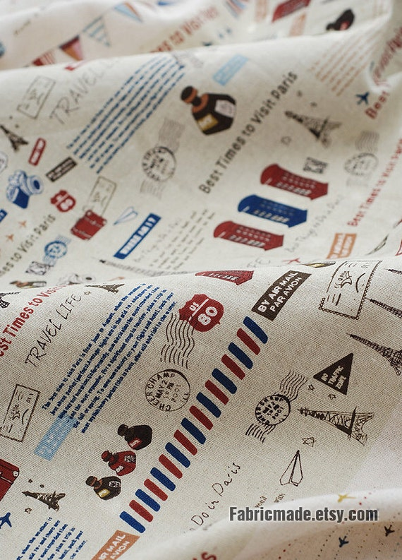 French Cotton Linen Fabric Clothes Paris Travel Red Blue