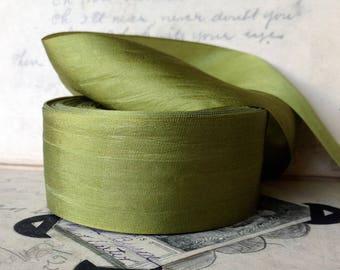 32 yard roll of moss chartreuse green silk ribbon
