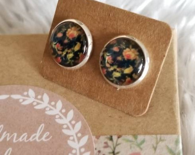 Black Floral Stud Earrings 12mm Druzy Style Silver Stud Earring