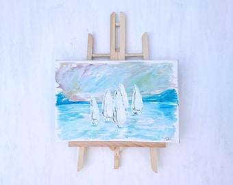 Abstract Hand Painted - A sea of sail boats.