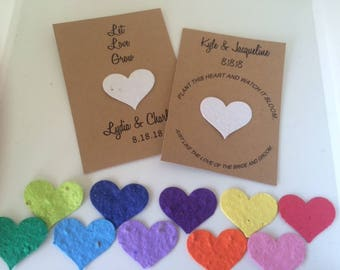 Plantable Paper favors, Plantable Seed Paper, plantable heart seed favors, wedding seed favors, Plantable invitations