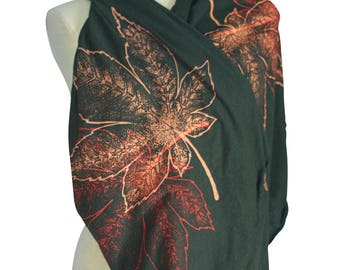 Black Triblend Screen Printed Momiji, Maple Leaves Infinity Scarf, Botanical, Sustainable, Gifts for Him or Her, Fall, Winter, Made in USA