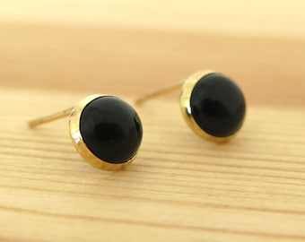 Onyx Earrings, 14K Gold Onyx Stud Earrings, Gold Studs, Black Onyx Earrings, Gift for Her, Black Gold Studs, Onyx Jewelry, Spring Sale