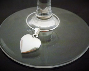 50 Silver Heart Wine Glass Charms