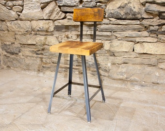 FREE SHIPPING: The Brewster   Industrial Style Bar Stools With Reclaimed  Wood Seats And Backs