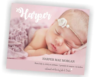 Custom Photo Birth Announcement, Birth Announcement, Custom Birth Announcement, Printable Birth Announcement, Photo Baby Announcement